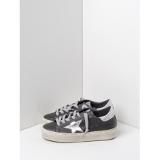 Golden Goose Hi Star Leather Sneakers - Black/Silver For Wide Feet online boutique GF6W0DQS