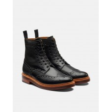 Mens Grenson Fred Brogue Boot Leather - Black New 2021 U13ZHW3A