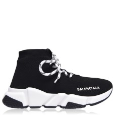 BALENCIAGA Shoes Speed Lace Trainers Black/Wht 1015 275977