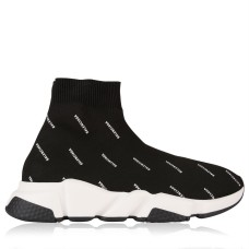 BALENCIAGA Shoes Speed Sock Logo Trainers Fit Blk/Wht 1006 233339
