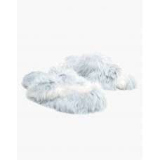 Ariana Bohling Bowie Alpaca Slipper - Grey/White Size 8 New look DHXQK2LV