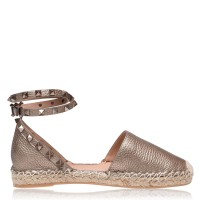 VALENTINO Women Shoes Rockstud Leather Espadrilles Skin S69 on clearance 233410